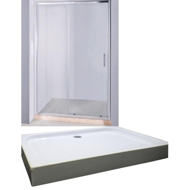 Дверь в нишу раздвижная 120*185см + Поддон мелкий прямоугольный 120*80*15см