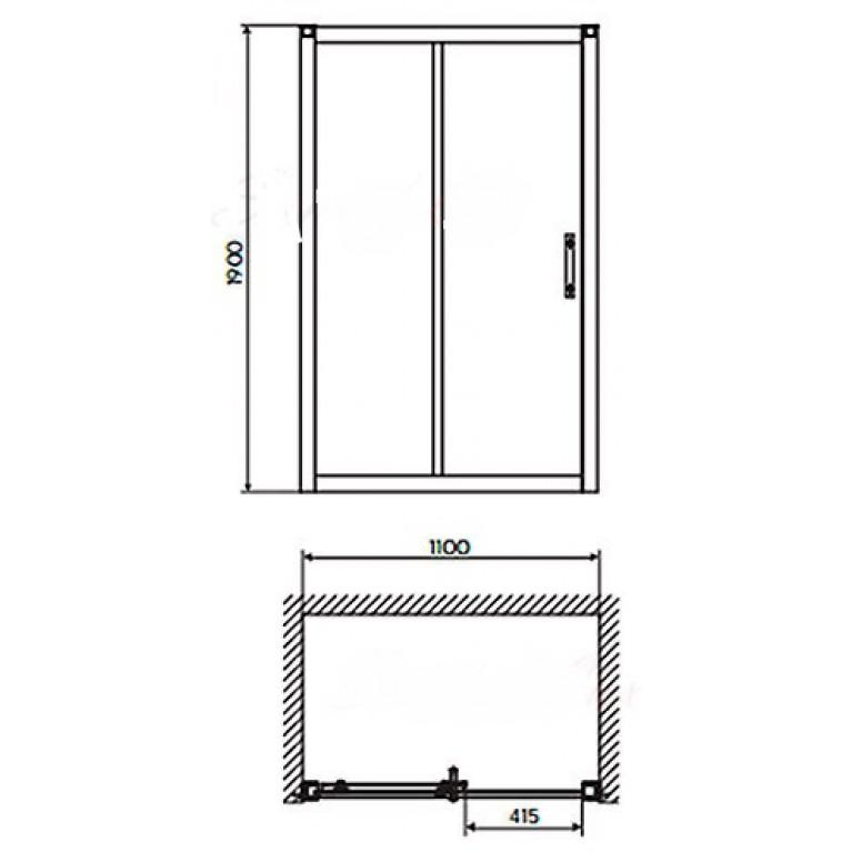 GEO 6 двери раздвижные 2-элементные 110 см, закаленное стекло, серебряный блеск GDRS11222003(A+B), фото 2
