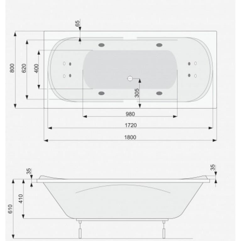 GEMINI ванна  180x80+pamа PWPD910ZS000000, фото 2