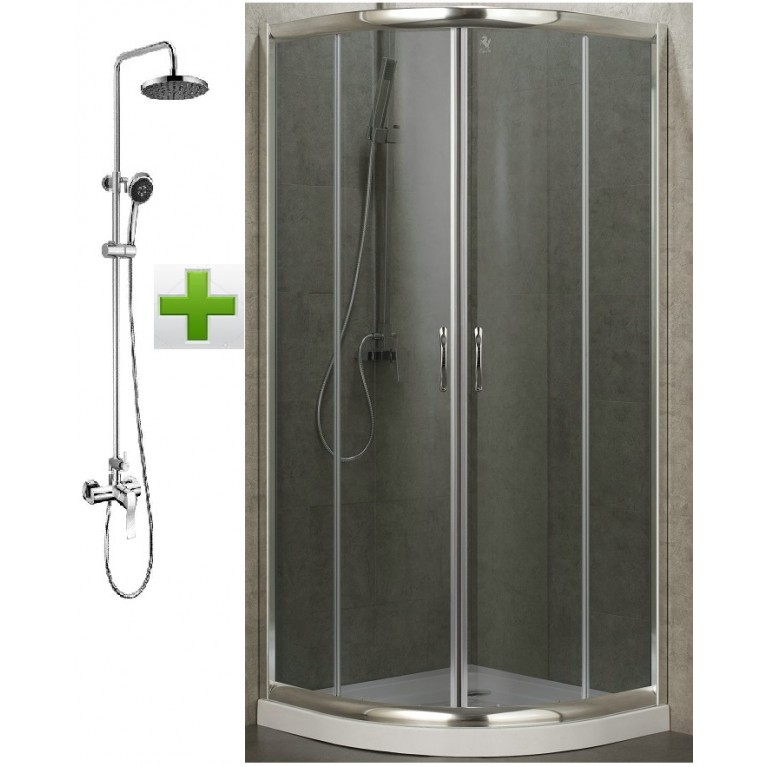 BALATON душевая кабина 90*90*198 см, (поддон PUF)+NOVA VLNA система (смеситель для душа, верхний и ручной душ, 3 режима, фото 1