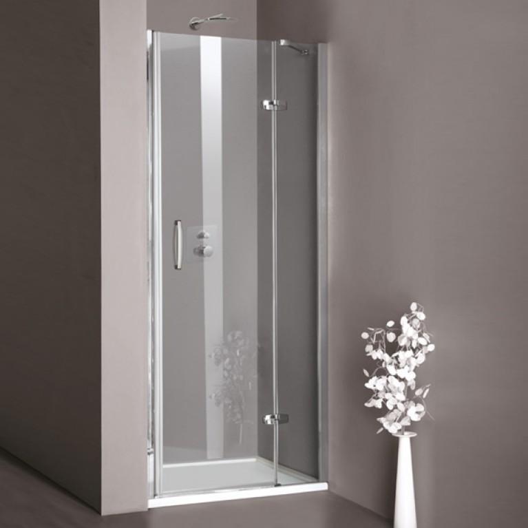 AURA дверь распашная с неподв.сегментом для ниши 70*200см (проф матов серебр,стекло проз Anti Plaque), крепление справа