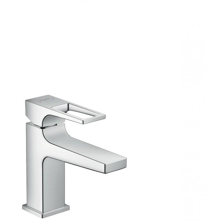 Metropol Смеситель для раковины однорычажный 100, с дугообразной ручкой и сливным гарнитуром push-open, хром