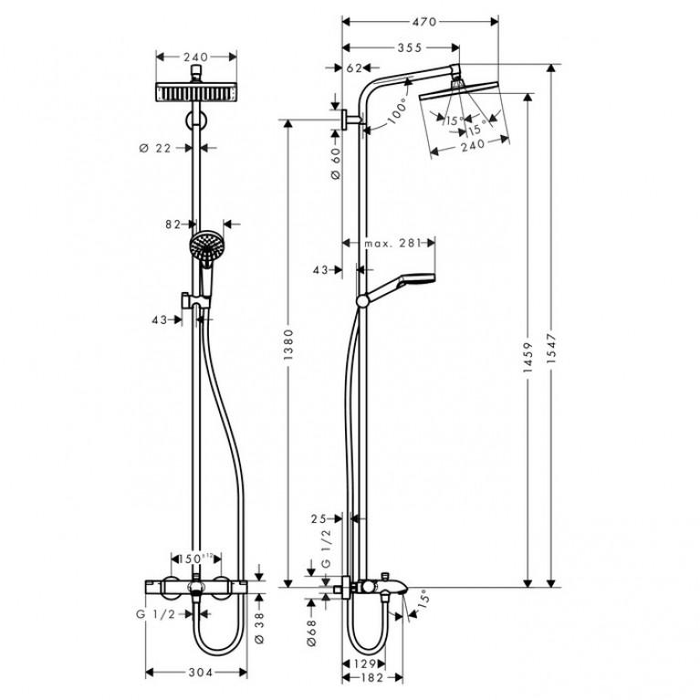 Crometta E 240 1jet Showerpipe Душевая система для ванны 27298000