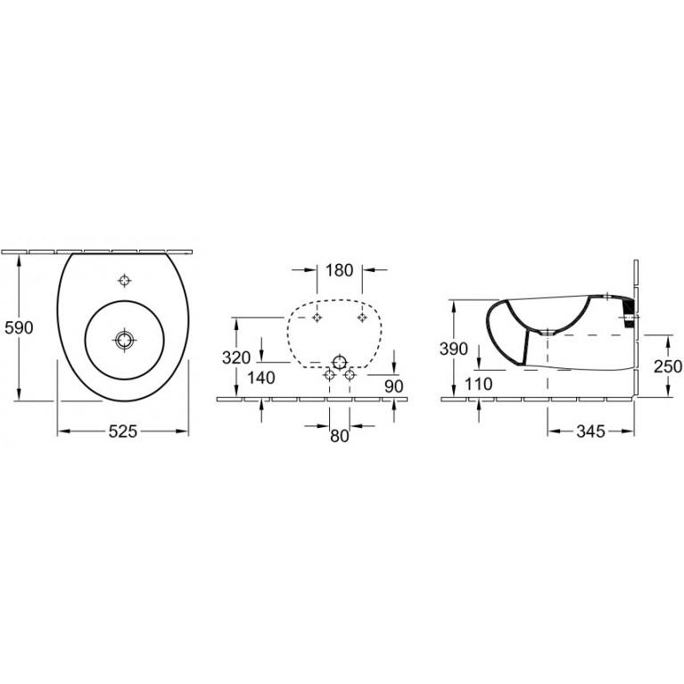 PURE STONE биде подвесное на 1 отв без перелива, 525*590мм, цвет grey stone С+ 547001U9, фото 2