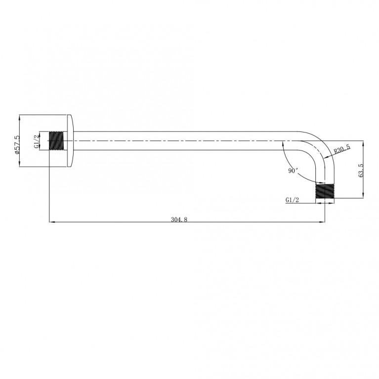 """Держатель лейки подкл. со стены 1/2"""" SH01-305"""