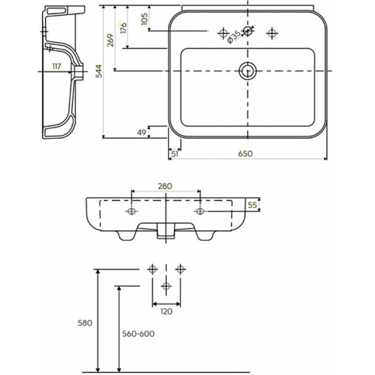EGO PLUS умывальник с отверстием, с переливом 65*54,4 см (пол.) K11165000, фото 2