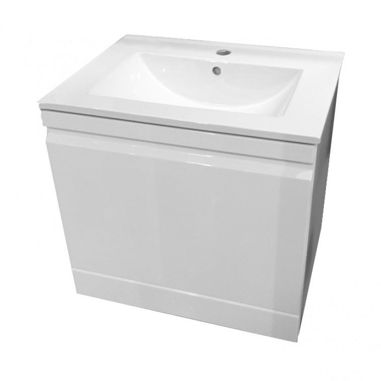 ORLANDO Тумба подвесная 600*460*620мм со скрытым ящиком, белая+умывальник накладной 60см, фото 1