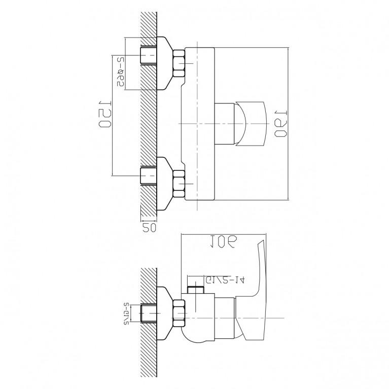 HORAK смеситель для душа, хром, 40 мм 15170, фото 2