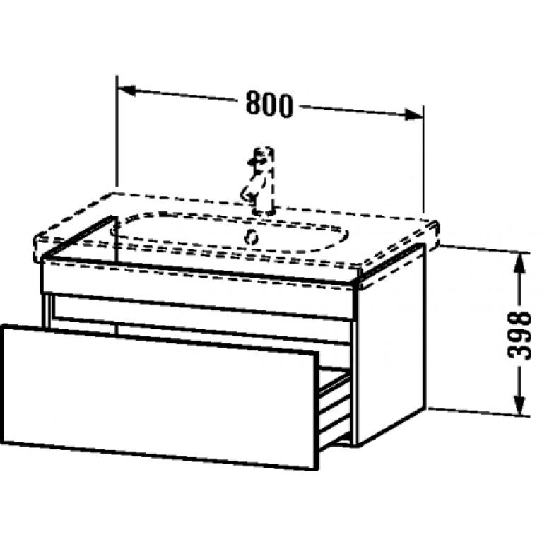 DURASTYLE тумбочка подвесная 39,8*80*45,3см, 1 выдвижной ящик. включ. вырез под сифон, цвет белый матовый (18) DS638401818, фото 2