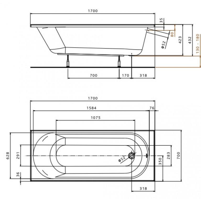 OPAL PLUS ванна прямоугольная 170х70 см, без ножек XWP137000N