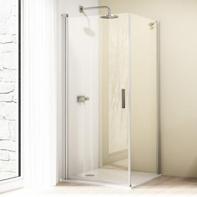 DESIGN ELEGANCE дверь распашная 80*190см (проф мат серебро,стекло прозр), фото 1