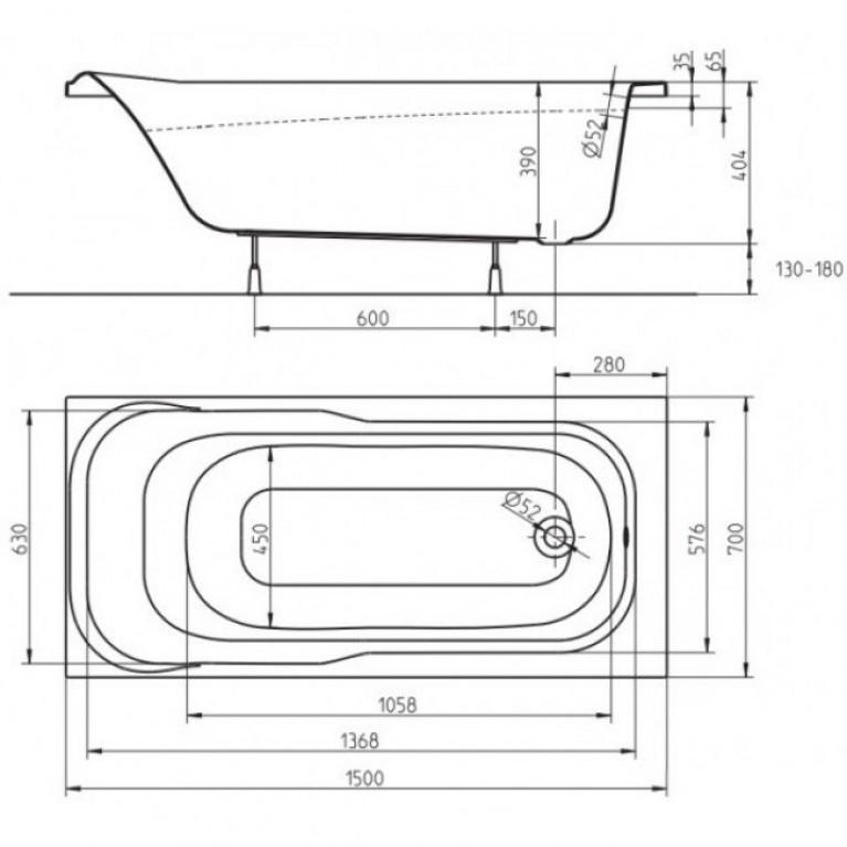 SENSA ванна прямоугольная 150*70 см XWP355000N, фото 2