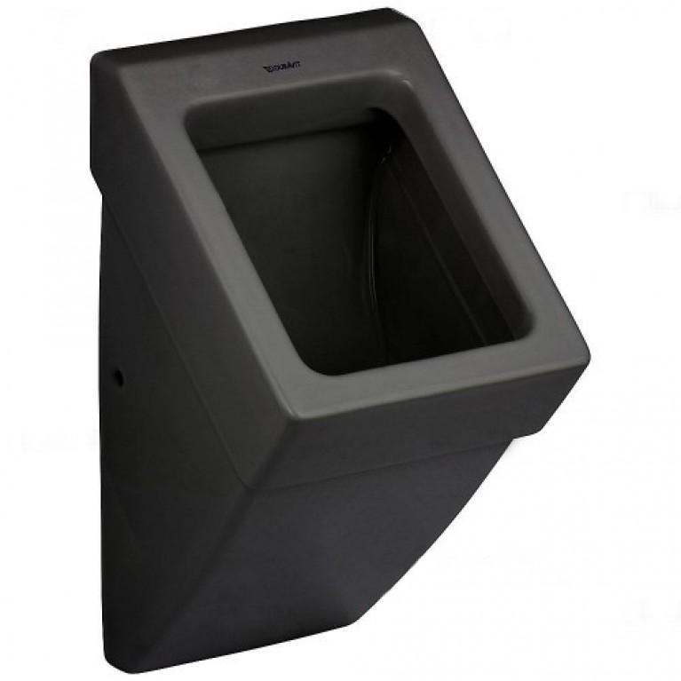 VERO писсуар 29,5*32см, подача воды сзади, с вытяжкой, сток горизонтальный, модель без крышки и мушки, цвет черный