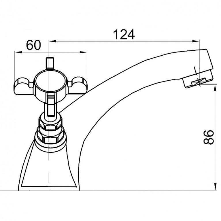 CUTHNA stribro двухвентильный смеситель для раковины, хром 05280 stribro, фото 2