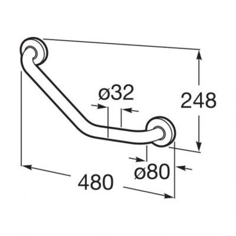 ACCESS COMFORT поручень 48*24,8см, металлический, угловой, 135°, хром A816931001, фото 2