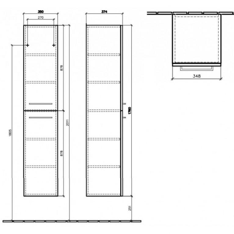 AVENTO шкаф-пенал 35*176*37см, подвесной, петли справа, цвет Crystal White, фото 2