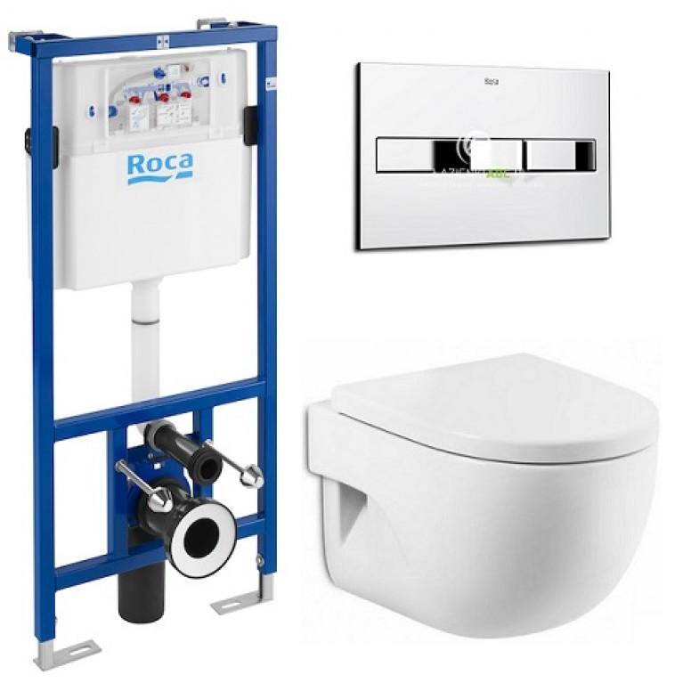 Комплект: MERIDIAN-N Compacto унитаз подвесной, PRO инсталяция для унитаза, PRO кнопка, сиденье твердое slow-closin, фото 1