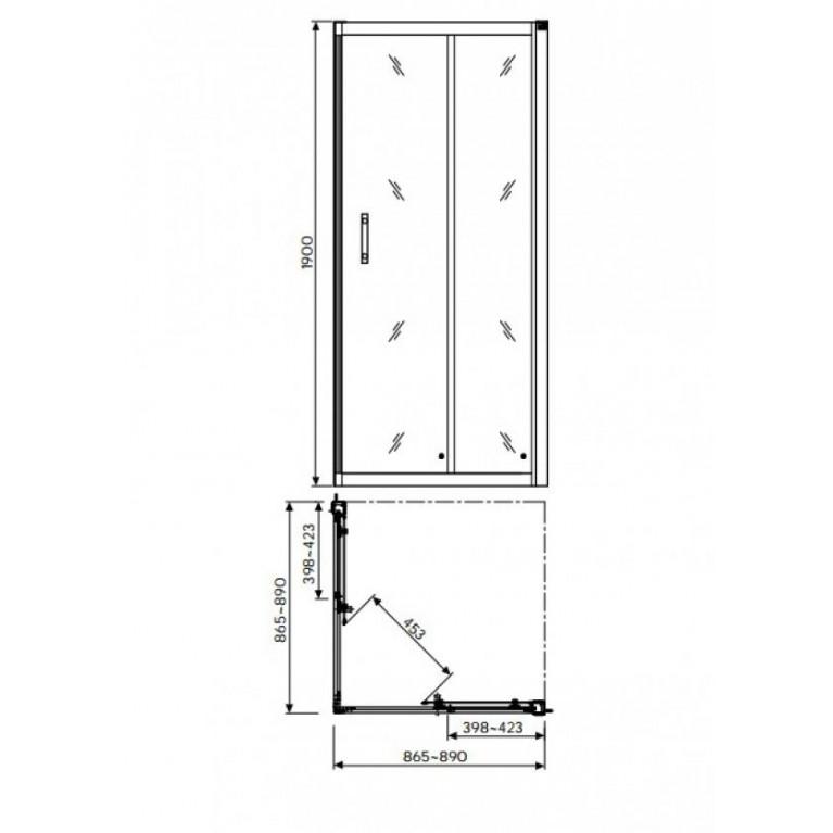 GEO 6 кабина квадратная 90 x 90 см, двери раздвижные, закаленное стекло, серебряный блeck(A+B) GKDK90222003(A+B), фото 2