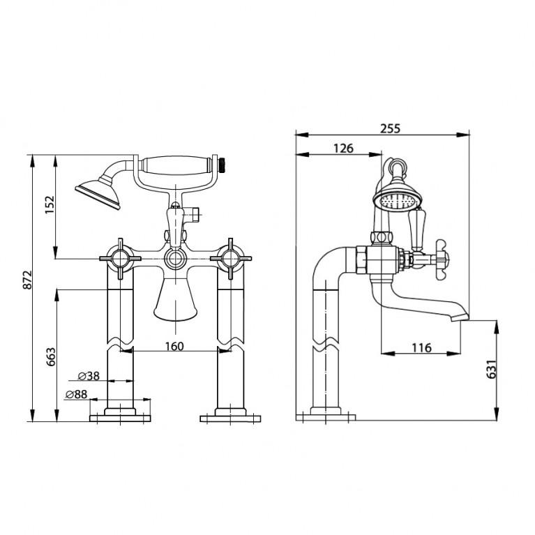 CUTHNA stribro смеситель для ванны H-10280 stribro, фото 2