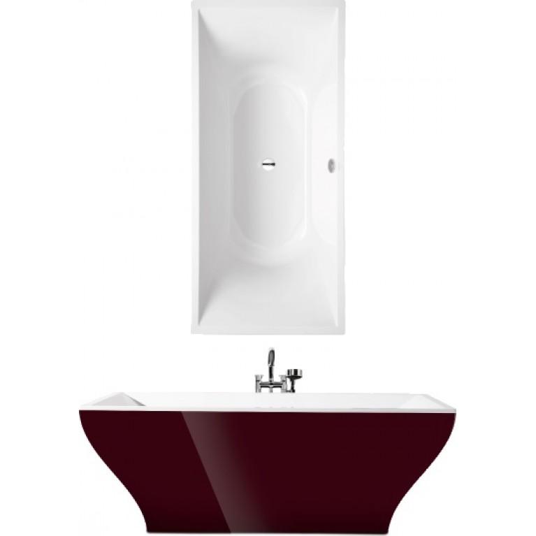 LA BELLE ванна 180*80см, отдельностоящая, включая панель (малиновая) с хромированным сливом/переливом, цвет ванны белый