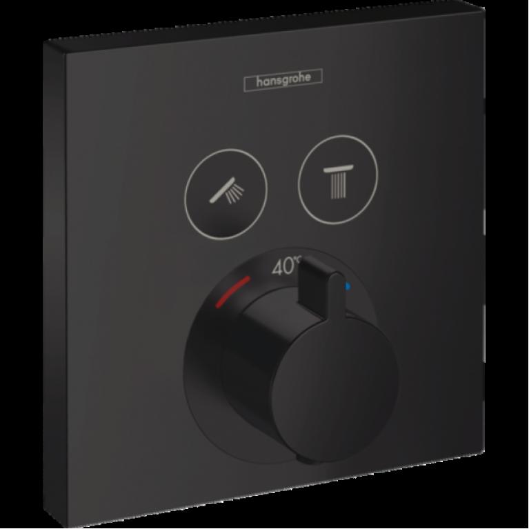 ShowerSelect Термостат для 2х потребителей, скрытого монтажа, цвет покрытия чёрный матовый, фото 1