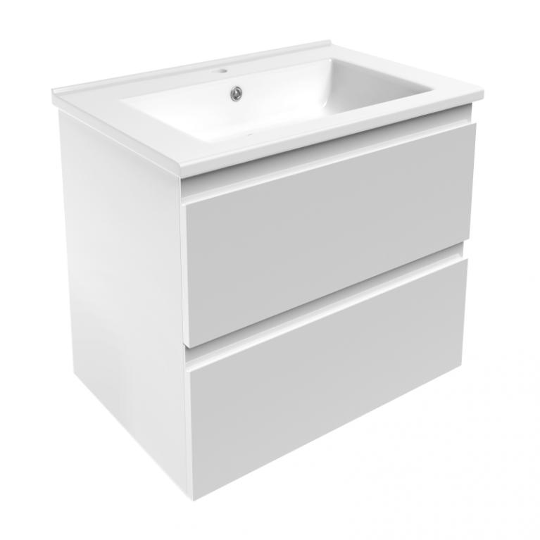 LEON комплект мебели 65см: тумба подвесная, 2 ящика, белая + умывальник накладной