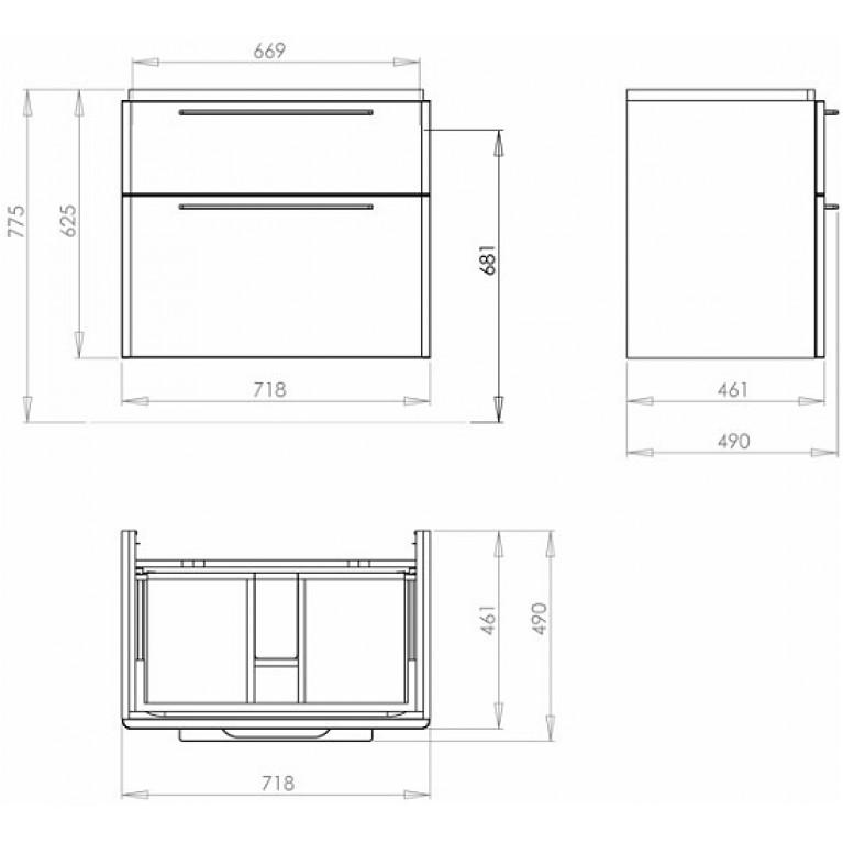 TRAFFIC корпус для тумбы 89435, белый глянец