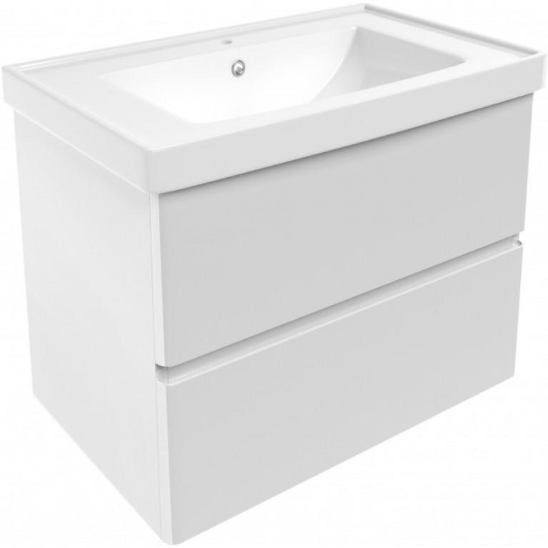 OLIVA комплект мебели 80см: тумба подвесная, 2 ящика, белая + умывальник накладной