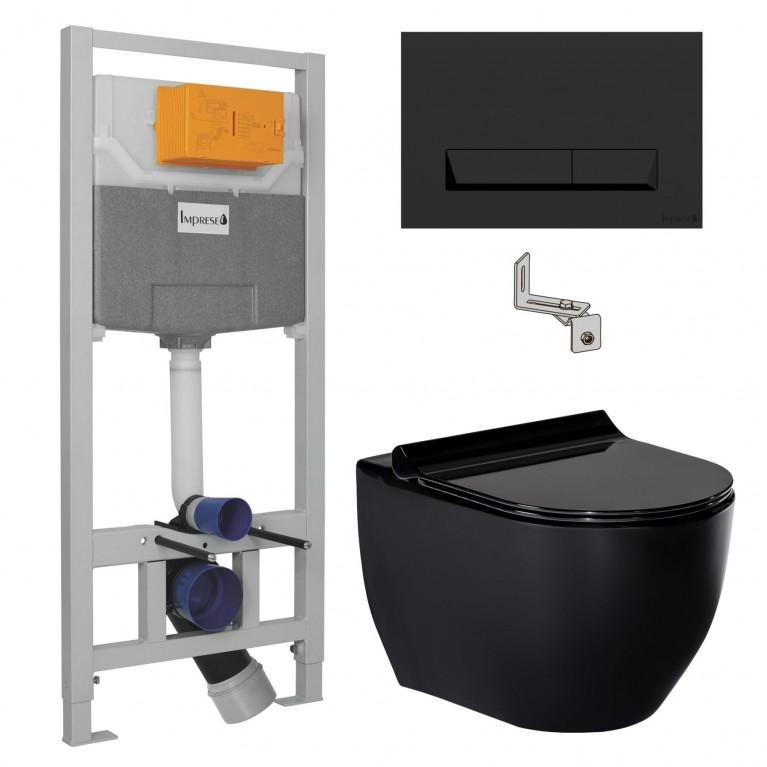 Комплект: BLАСК AMADEUS унитаз черный, сиденье твердое Sliм slоw-сlosing+IMРRESE комплект инсталляции 3в1 (черная клавиша), фото 1