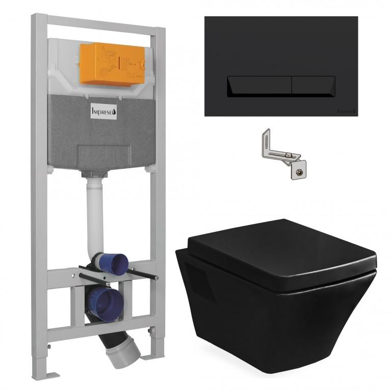 Комплект: TЕО black унитаз 53*35,5*40см сиденье slоw-closing+IМРRESE комплект инсталляции 3в1 (черная клавиша)