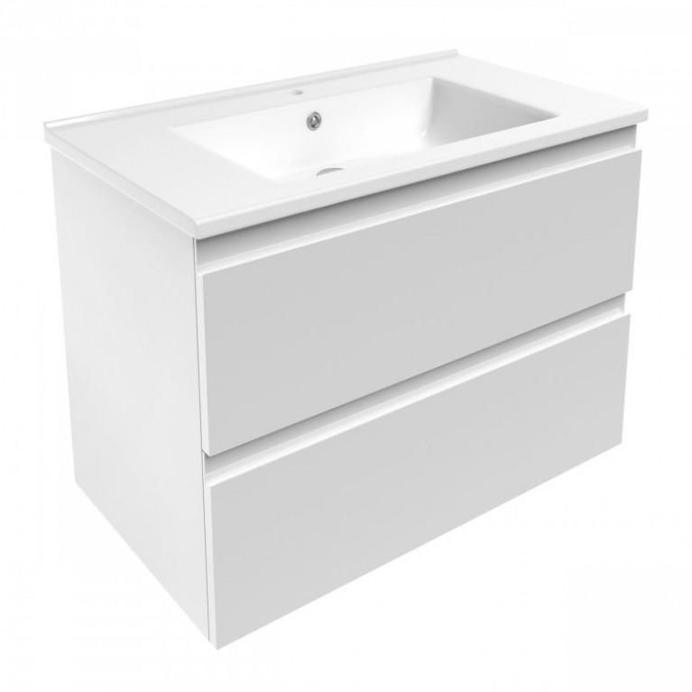 LEON комплект мебели 80см: тумба подвесная, 2 ящика, белая + умывальник накладной