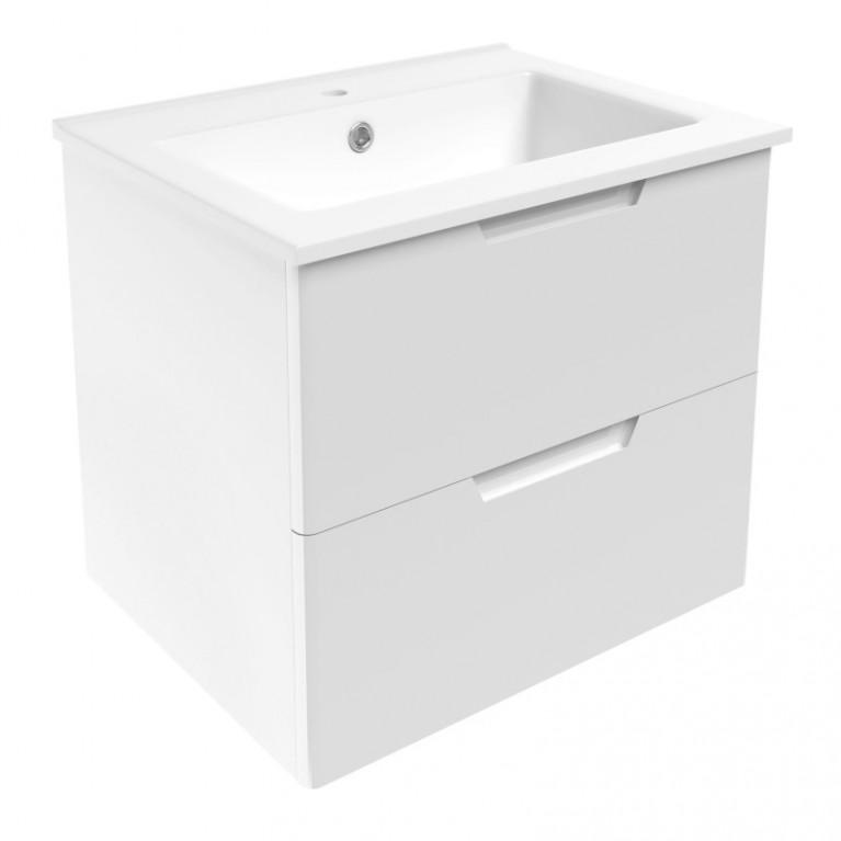 LIBRA комплект мебели 60см: тумба подвесная, 2 ящика, белая + умывальник накладной