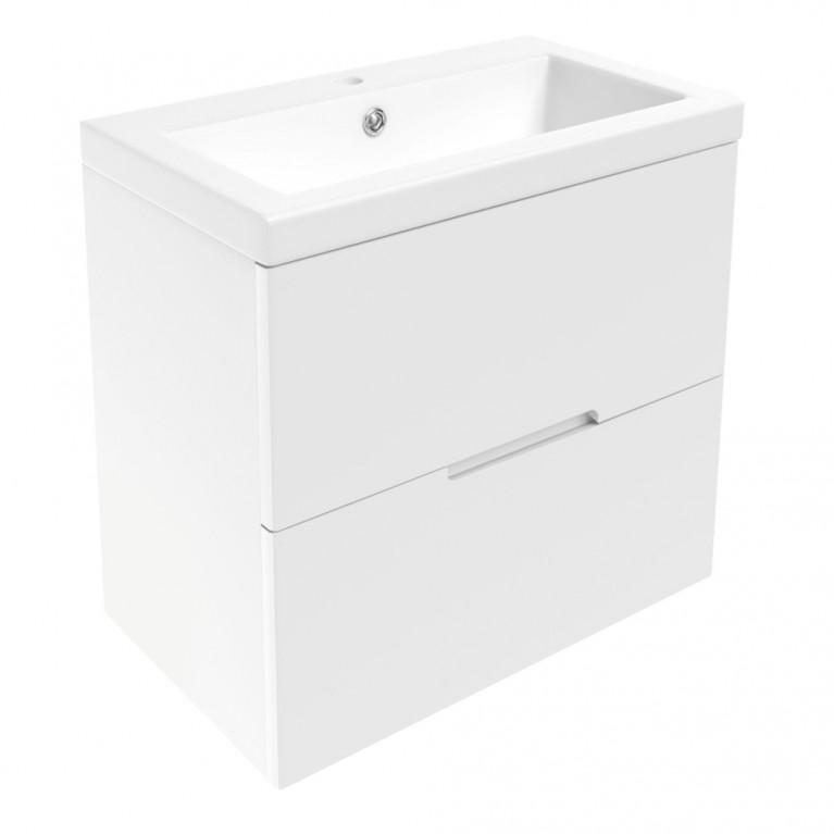 AIVA комплект мебели 60см: тумба подвесная , 2 ящика, белая + умывальник накладной