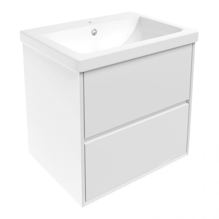 TEO комплект мебели 65см: тумба подвесная, 2 ящика, белая + умывальник накладной