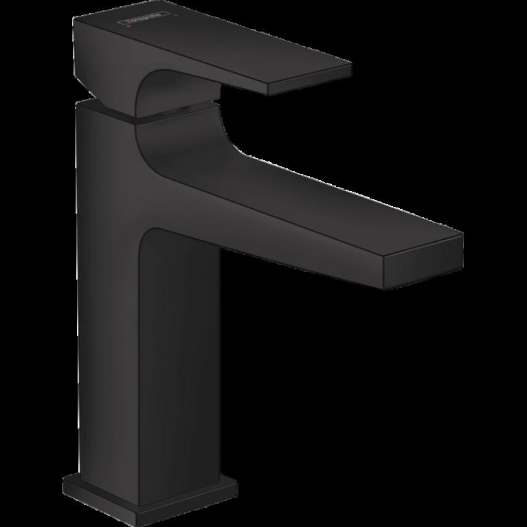 Смеситель Metropol  для раковины 110, однорычажный, со сливным клапаном Push-Open, цвет покрытия матовый чёрный