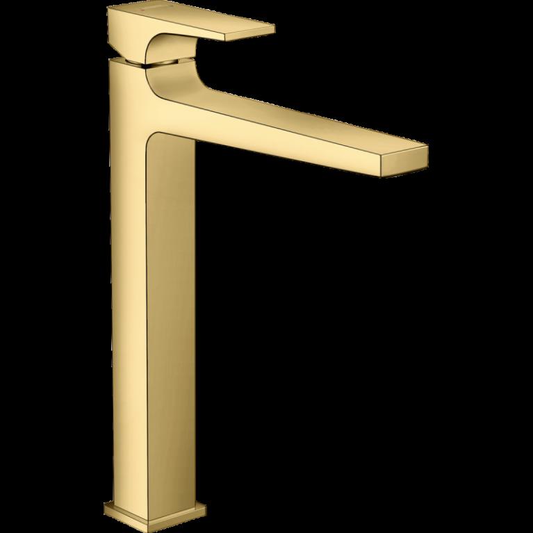 Смеситель для умывальника METROPOL со сливным клапаном PUSH-OPEN, цвет золото, фото 1