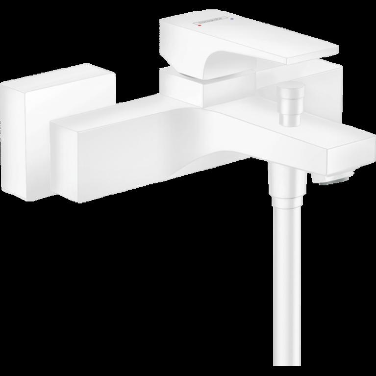 METROPOL смеситель для ванны, однорычажный, с рычаговой рукояткой, ВМ, белый матовый