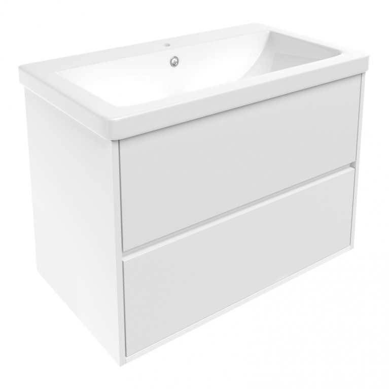 TEO комплект мебели 80см: тумба подвесная, 2 ящика, белая + умывальник накладной, фото 1