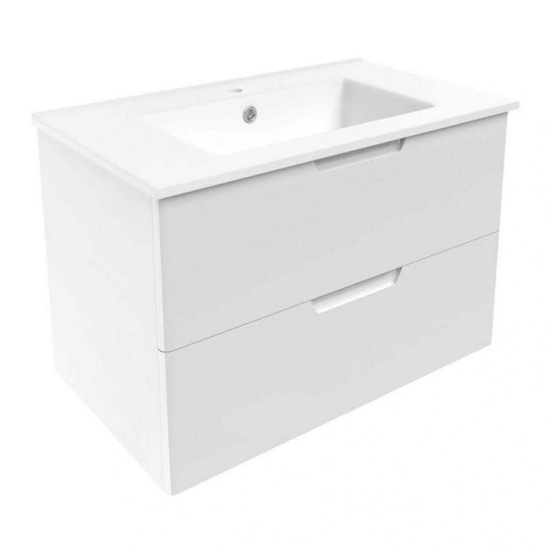 LIBRA комплект мебели 80см: тумба подвесная, 2 ящика, белая + умывальник накладной