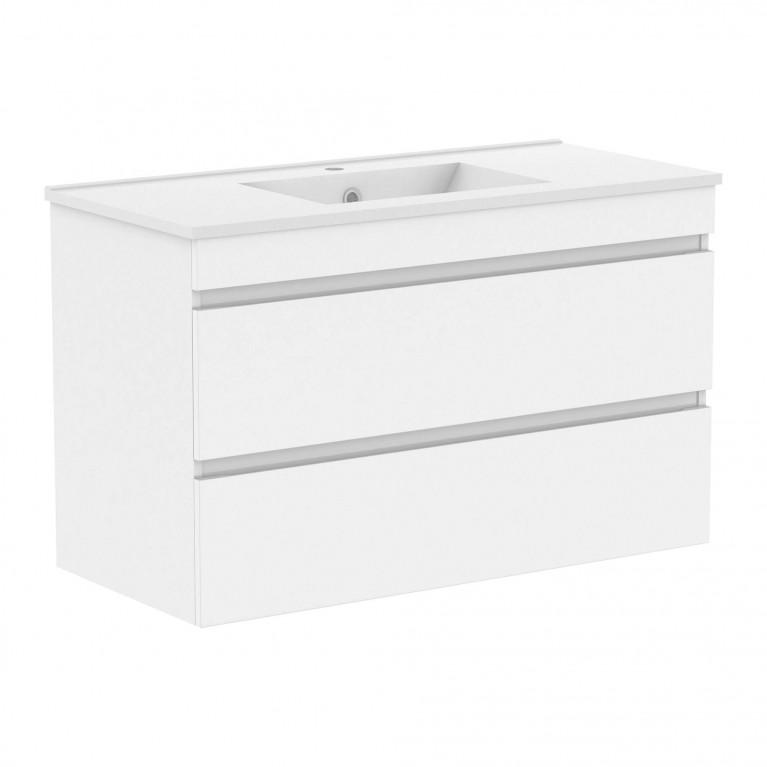 Комплект мебели VOLLE FIESTA  100см белый: тумба подвесная, 2 ящика + умывальник накладной