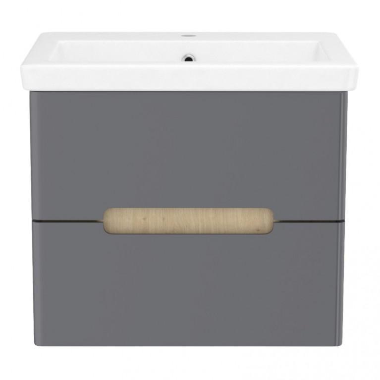 Комплект мебели PUERTA60см серый: тумба подвесная, 2 ящика + умывальник накладной