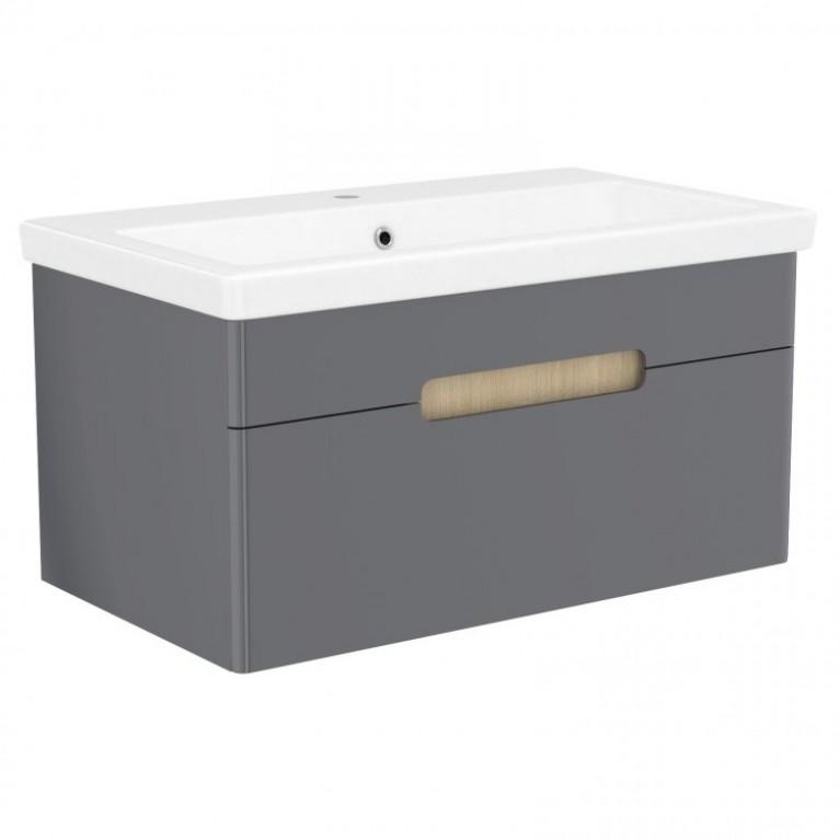 Комплект мебели VOLLE PUERTA 80см серый: тумба подвесная, 1 ящик + умывальник накладной