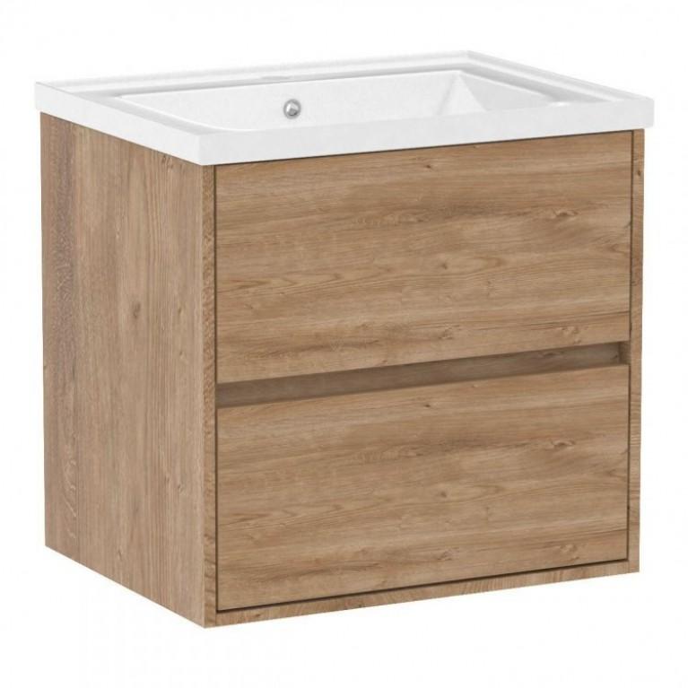Комплект мебели TEO 65см дуб готланд: тумба подвесная, 2 ящика + умывальник накладной, фото 1
