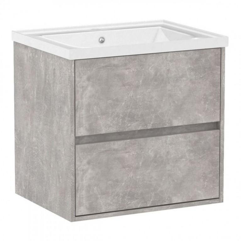 Комплект мебели TEO 65см бетон: тумба подвесная, 2 ящика + умывальник накладной