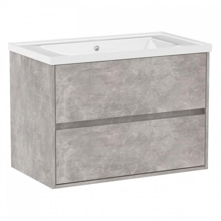 Комплект мебели TEO 80см бетон+ умывальник накладной, фото 1