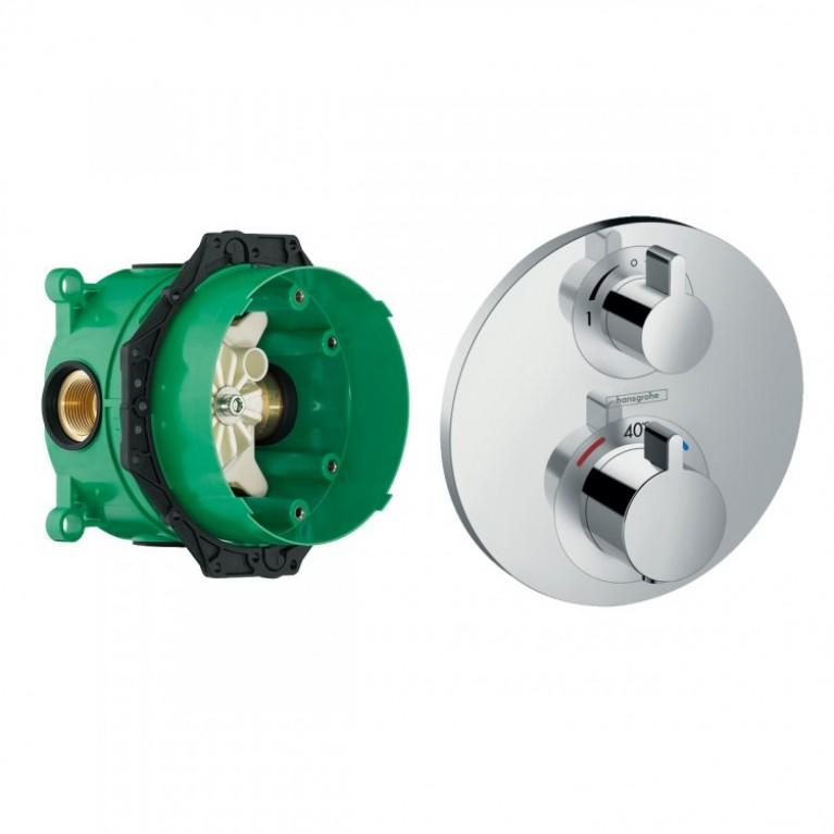Термостат ECOSTAT S с запорным/переключающим вентилем + IBOX univеrsаl скрытая часть для смесителя (в подарок)