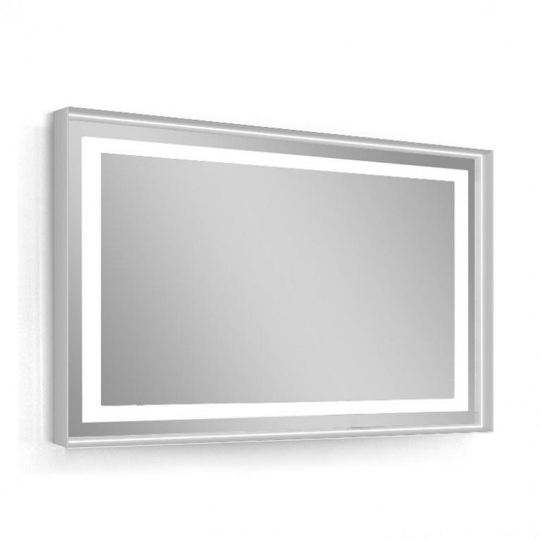 Зеркало 80*60см, в алюминиевой раме, с подсветкой, с подогревом, цвет белый (мебель под умывальник VЕRITУ LINE)