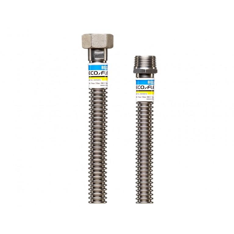 Шланг для воды нержавеющий гофрированный ECO-FLEX DN12 супер 1/2х1/2 ВН 20 см