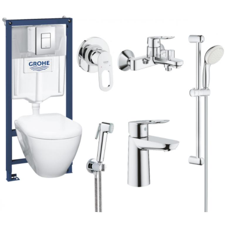Набор: GROHE SОLIDO инстал.+подв. унитаз+BАULOOР гигиен набор+BAULOOP набор смес. для ванны+ЕSSENTIALS компл.