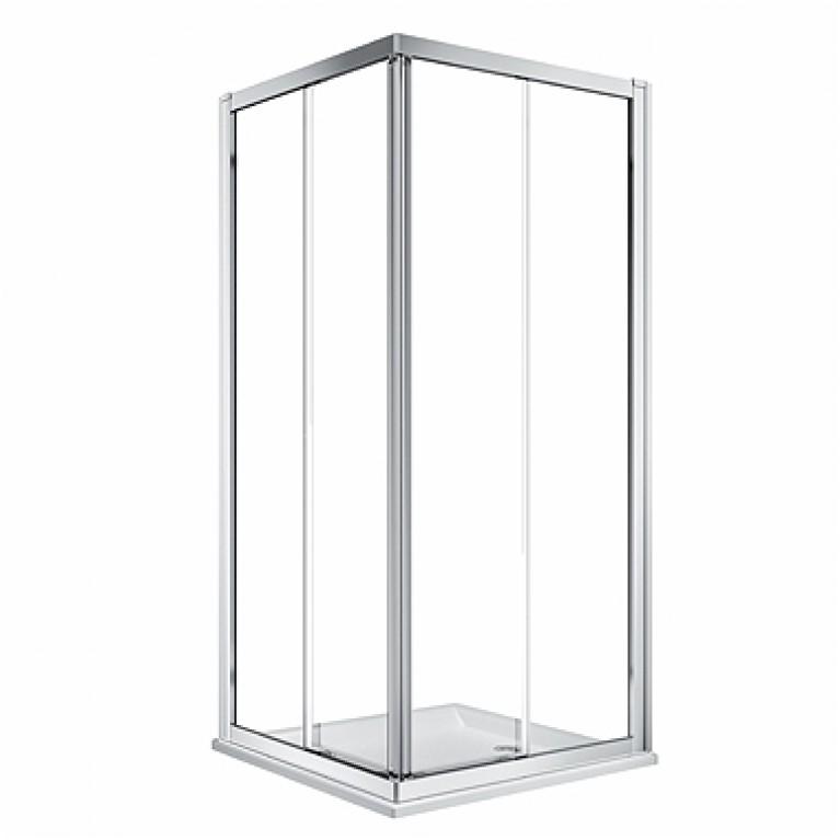 Душевая кабина KOLO GEO 90см, квадратная, двери раздвижные, прозрачное стекло, серебряный блеск, Reflex